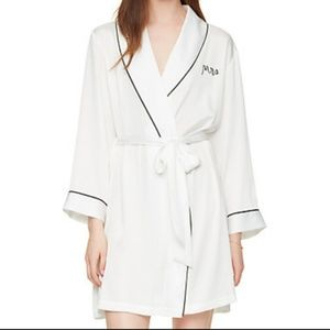 Kate Spade White Mrs Satin Short Bridal Robe NEW